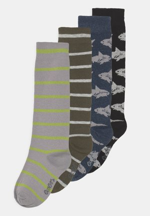 SHARK STRIPES 4 PACK - Knee high socks - grey/black