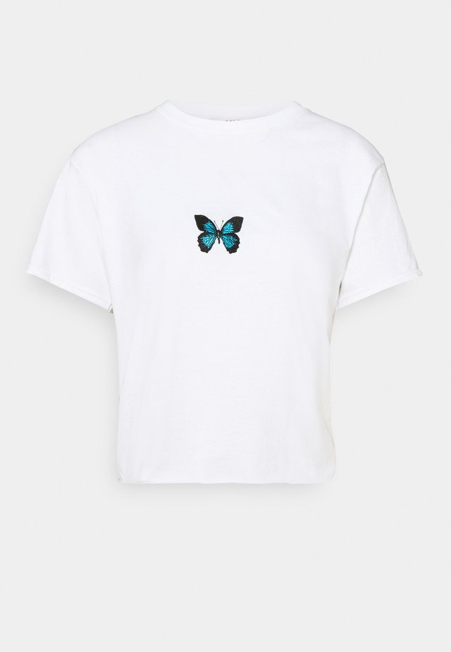 EMBROISERED BUTTERFLY - T-shirts med print - white