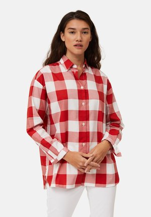 Button-down blouse - red/white check
