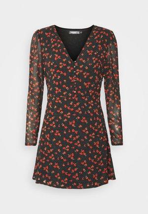 HALF BUTTON TEA DRESS FLORAL - Vestito estivo - black