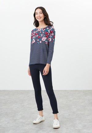 Long sleeved top - marineblau floral streifen