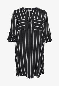 KABABARA SHIRT DRESS - Shirt dress - black / chalk stripe