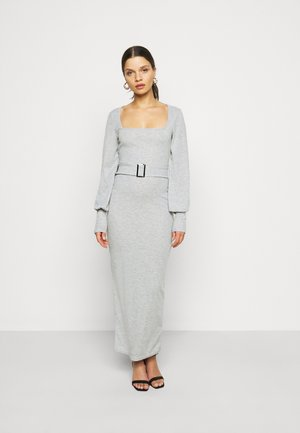 SQUARE NECK SELF BELT MIDAXI DRESS - Sukienka z dżerseju - grey