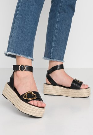 OLIVER - Sandály na platformě - black