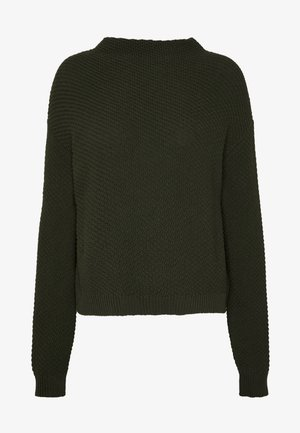 Diagonal jumper with grown on collar - Strikpullover /Striktrøjer - jungle green