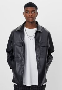 Bershka - Faux leather jacket - black - 0