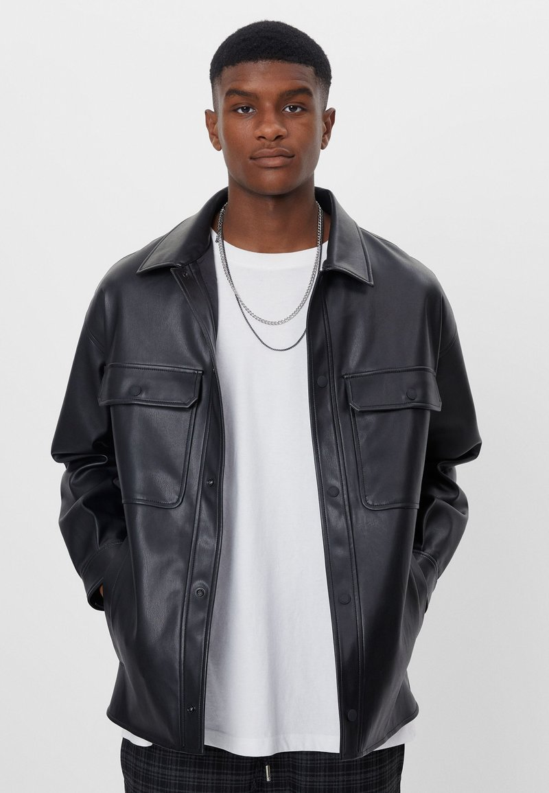 Bershka - Faux leather jacket - black