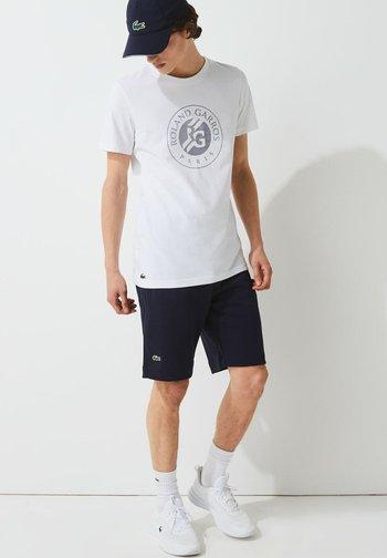 T-shirt print - blanc bleu marine