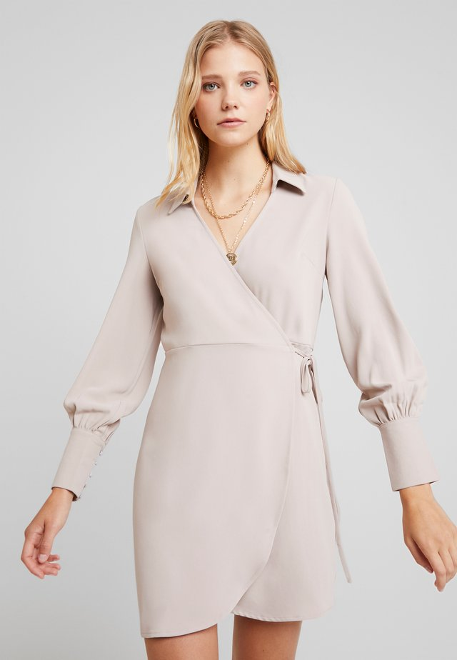 TAILORED WRAP DRESS - Day dress - stone
