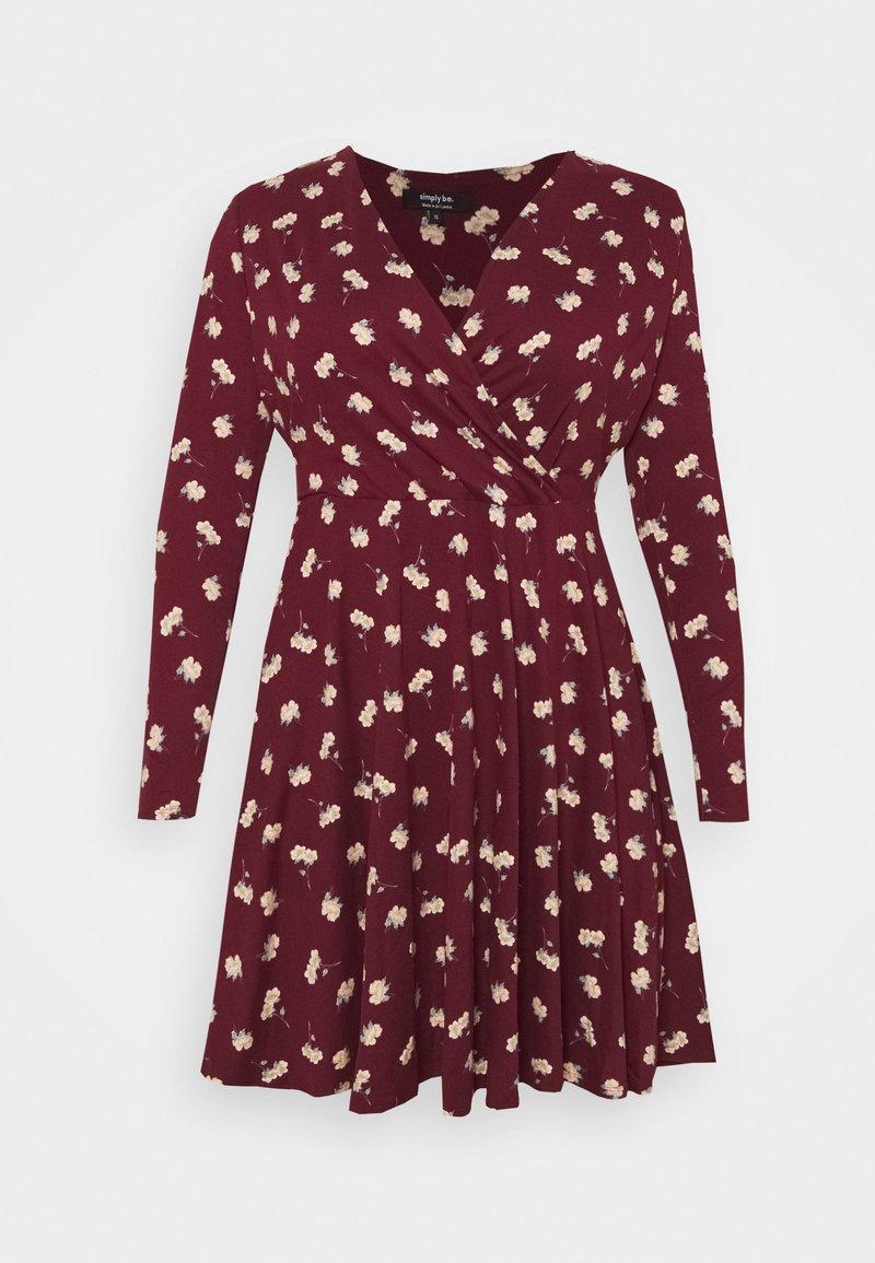Simply Be - WRAP SKATER DRESS - Sukienka z dżerseju - red