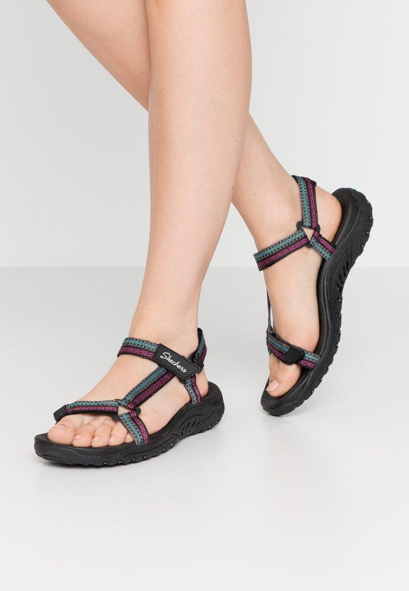 Skechers - REGGAE - Chodecké sandály - black/teal/pink