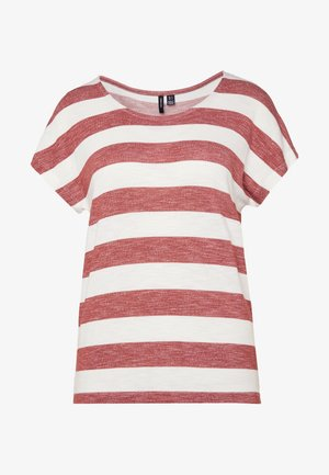 VMWIDE STRIPE TOP  - T-shirts print - marsala/snow white