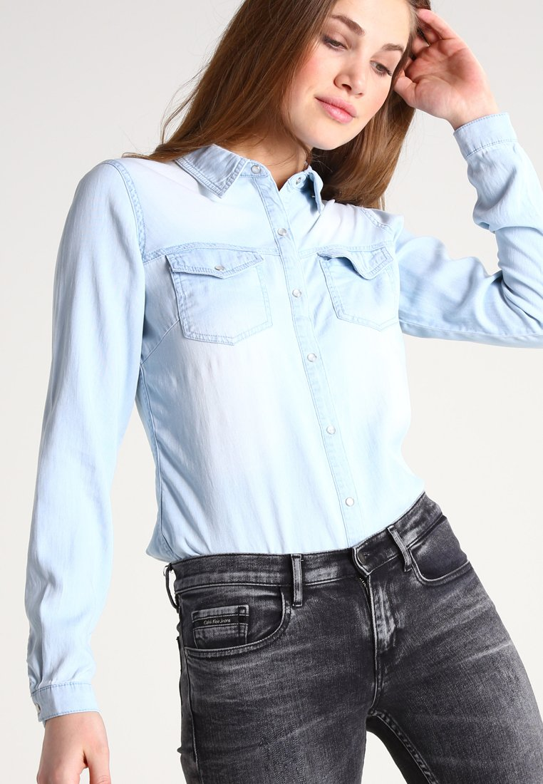Vila - Button-down blouse - light blue denim