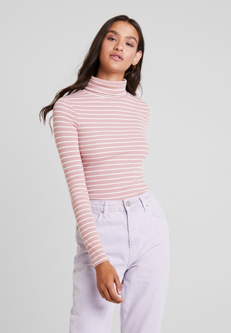 New Look - STRIPE ROLL - Long sleeved top - pink