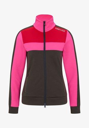 HAILEY - Zip-up hoodie - olivgrün/pink/rot
