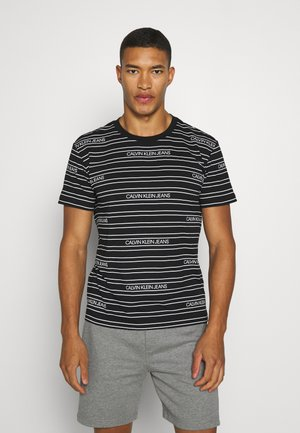 STRIPE LOGO - Print T-shirt - black