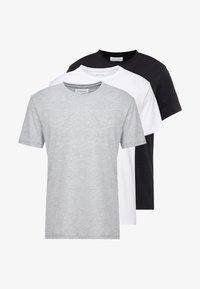 3 PACK - T-shirt - bas - white/black/light grey