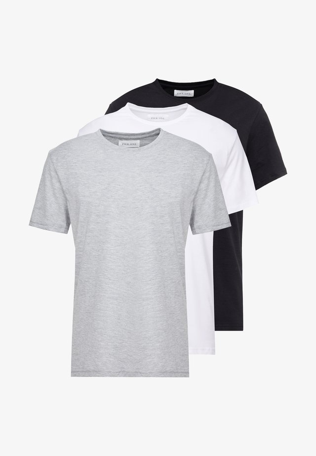 3 PACK - T-paita - white/black/light grey