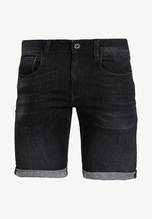 3301 SLIM 1/2 - Short en jean - elto black superstretch - medium aged grey