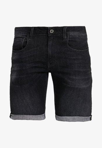 3301 SLIM 1/2 - Jeansshorts - elto black superstretch - medium aged grey