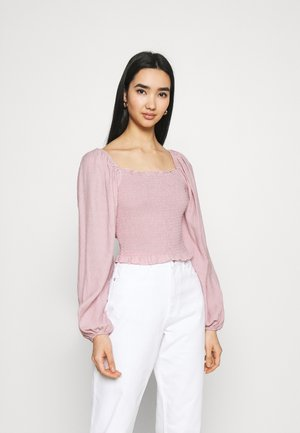 DETAIL SHIRRED CROP - Topper langermet - pink