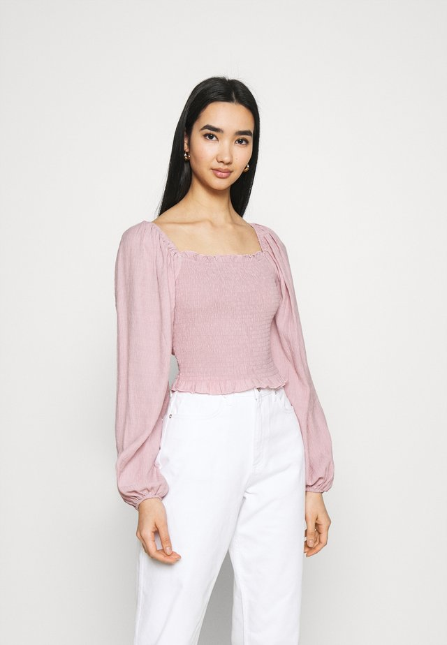 DETAIL SHIRRED CROP - Long sleeved top - pink
