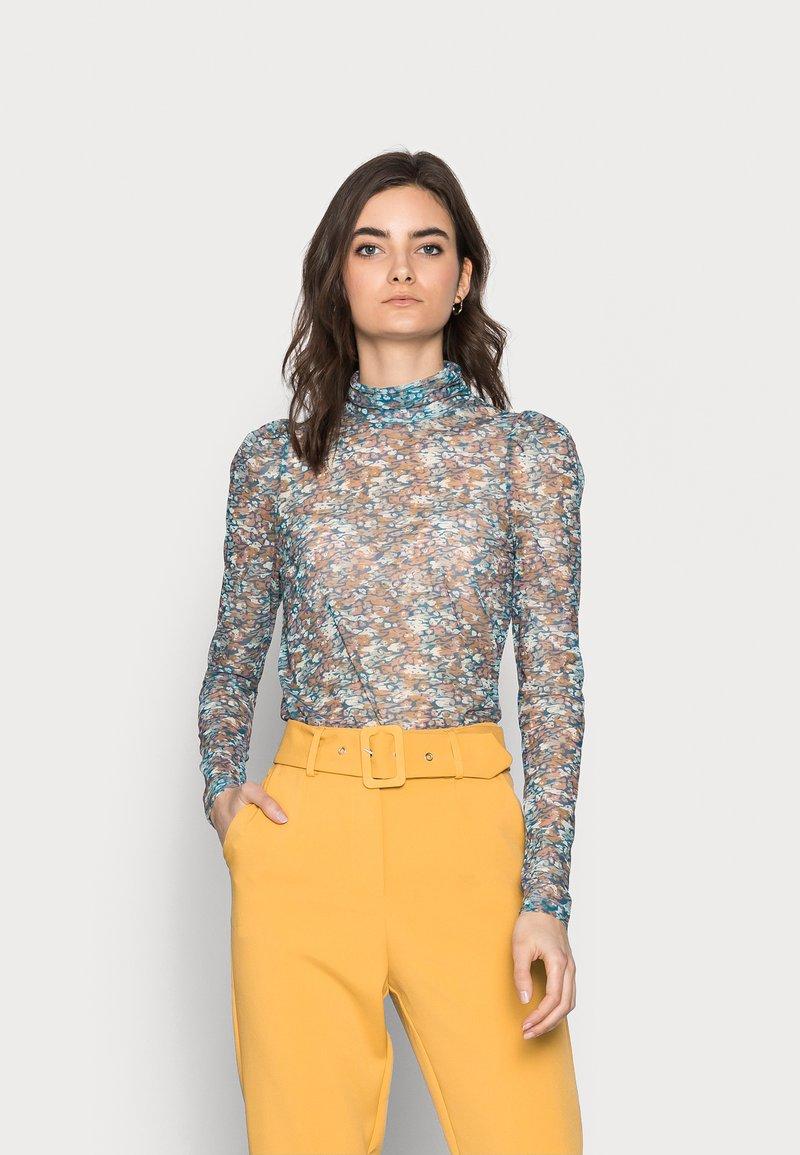 Vero Moda Tall - VMLULU HIGH NECK - Long sleeved top - mykonos blue/lulu