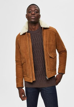 Leather jacket - camel