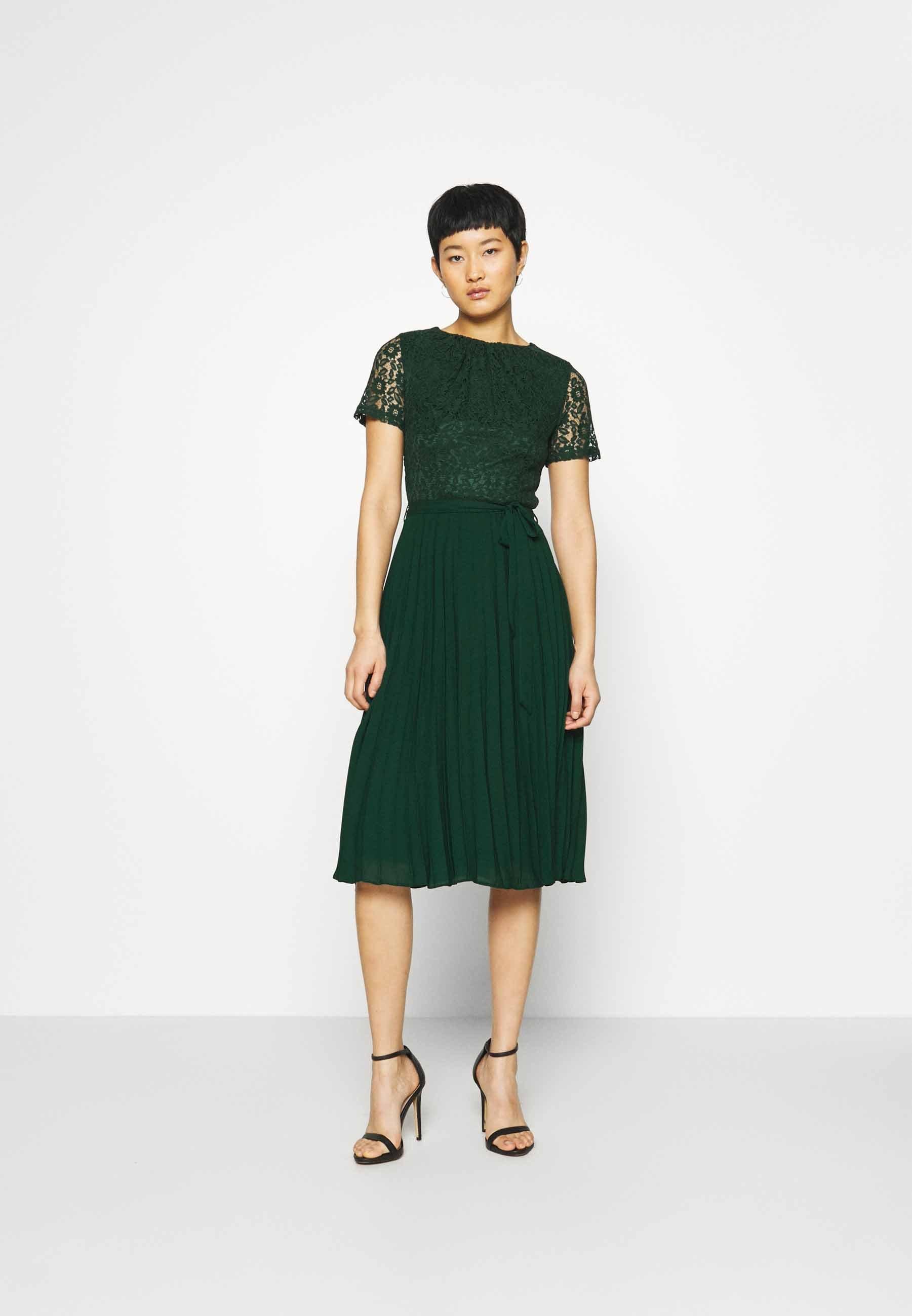 Dorothy Perkins Alice Pleat Midi Cocktailkleid Festliches Kleid Green Grun Zalando De