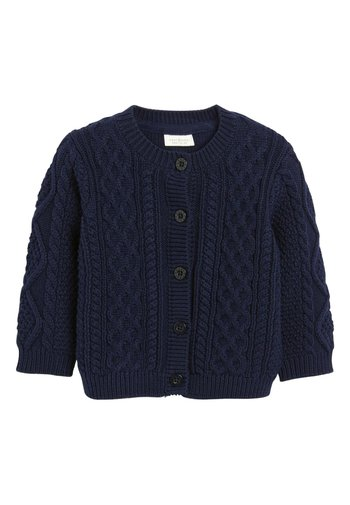 NAVY CABLE KNIT CARDIGAN (0MTHS-3YRS)