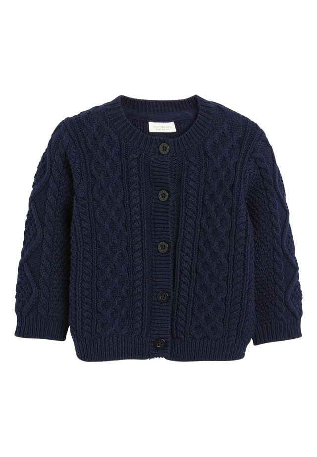 NAVY CABLE KNIT CARDIGAN (0MTHS-3YRS) - Vest - blue