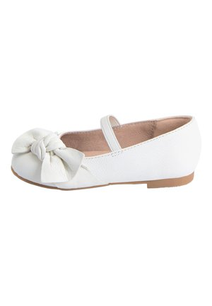 WHITE LEATHER BOW BALLET SHOES (YOUNGER) - Ankle strap ballet pumps - white