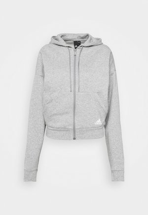 Zip-up hoodie - mottled grey/white