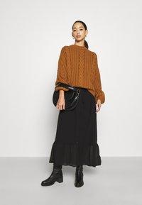 Vila - VIASTRID BUTTON TIE BELT DRESS - Maxi dress - black - 1