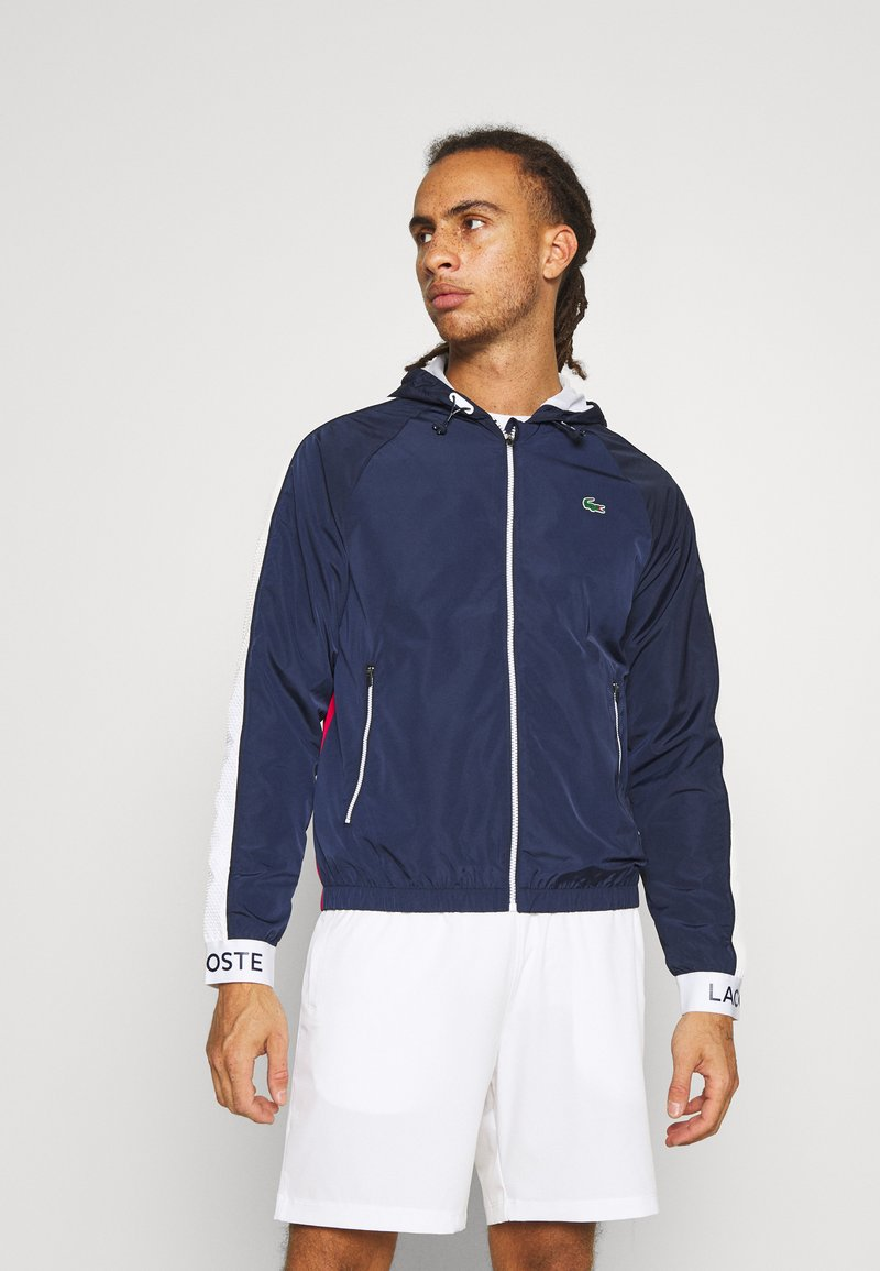 Lacoste Sport - TRACK JACKET - Träningsjacka - navy blue/ruby/white/navy blue