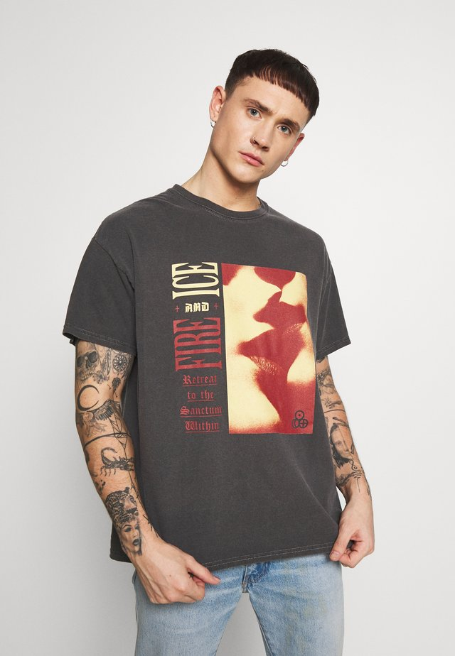 FIRE ICE TEE - T-shirts med print - dark grey