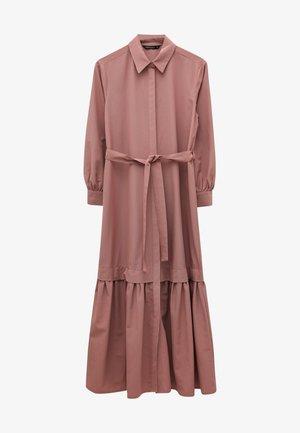 WAIST BELTED LONG SLEEVE POPLIN  - Maxi dress - pink