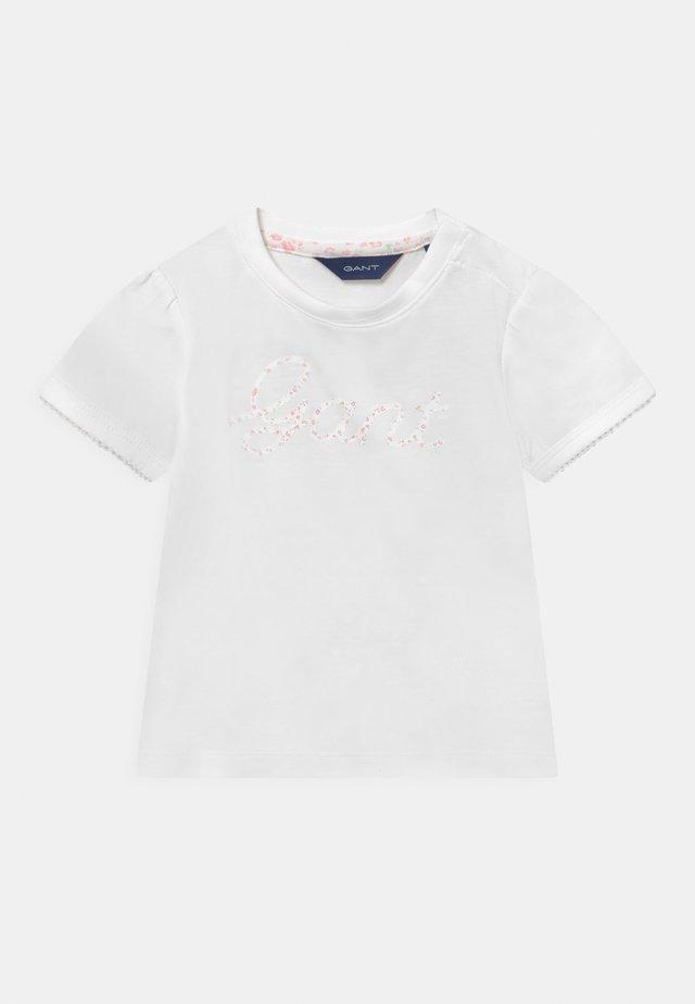 FLORAL SCRIPT  - Print T-shirt - white