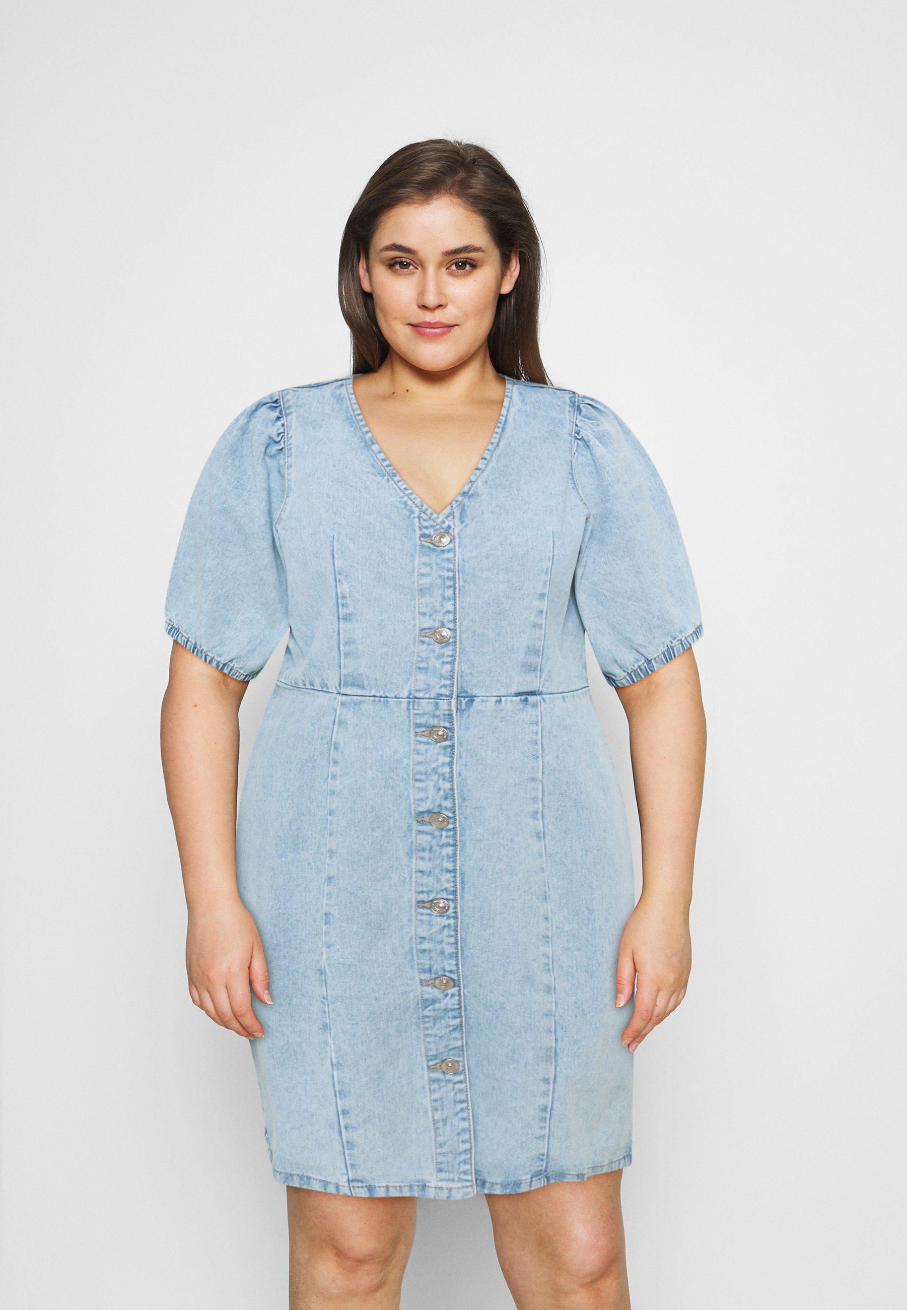 Women PCGILI V NECK COLOUR DRESS  - Denim dress