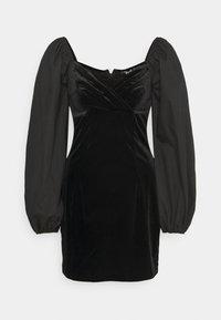 Missguided - WRAP FRONT DRESS - Etuikjole - black - 0
