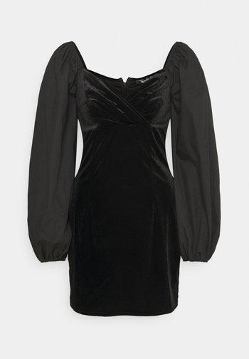 WRAP FRONT DRESS - Shift dress - black