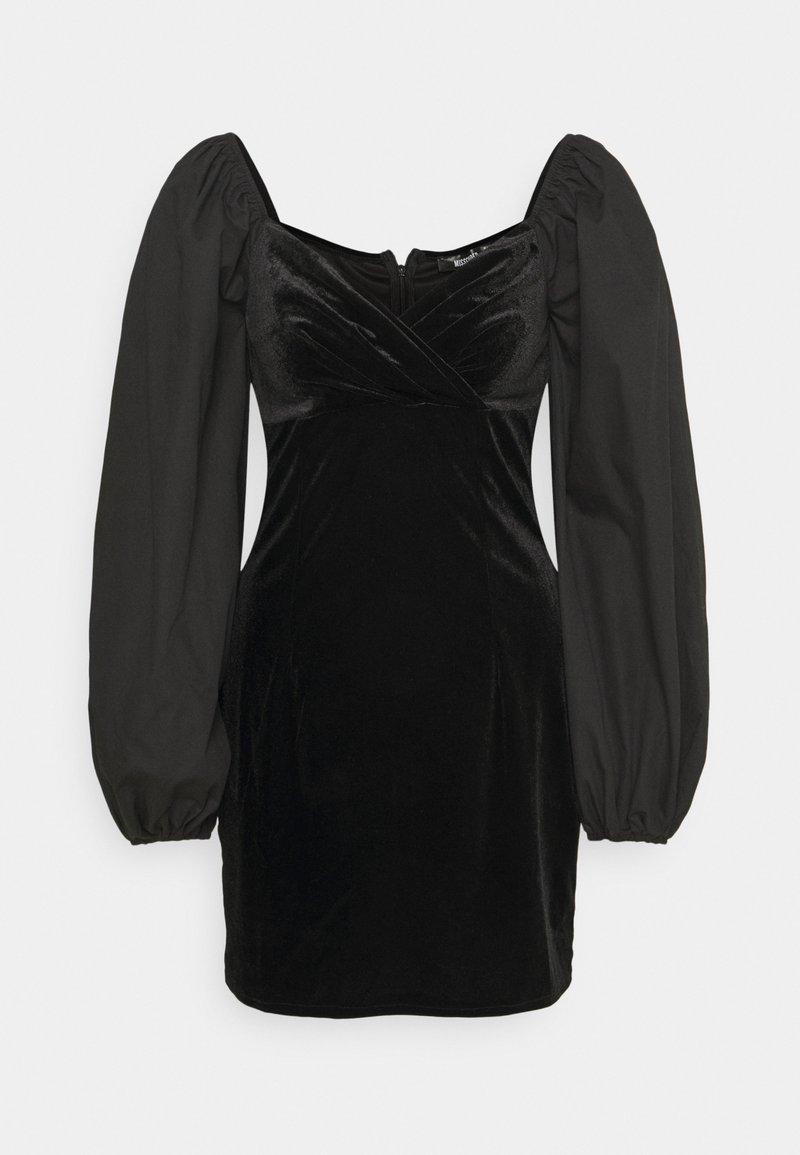 Missguided - WRAP FRONT DRESS - Etuikjole - black