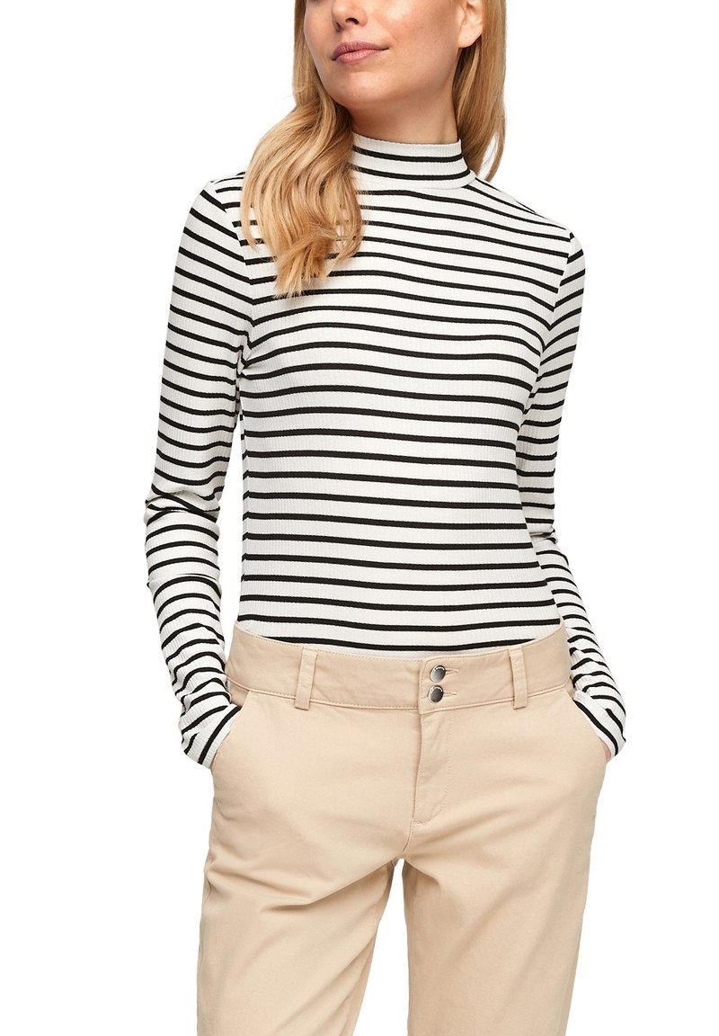Q/S designed by - Long sleeved top - black stripes
