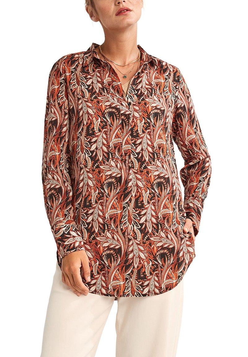 comma - LONG - Button-down blouse - black paisley