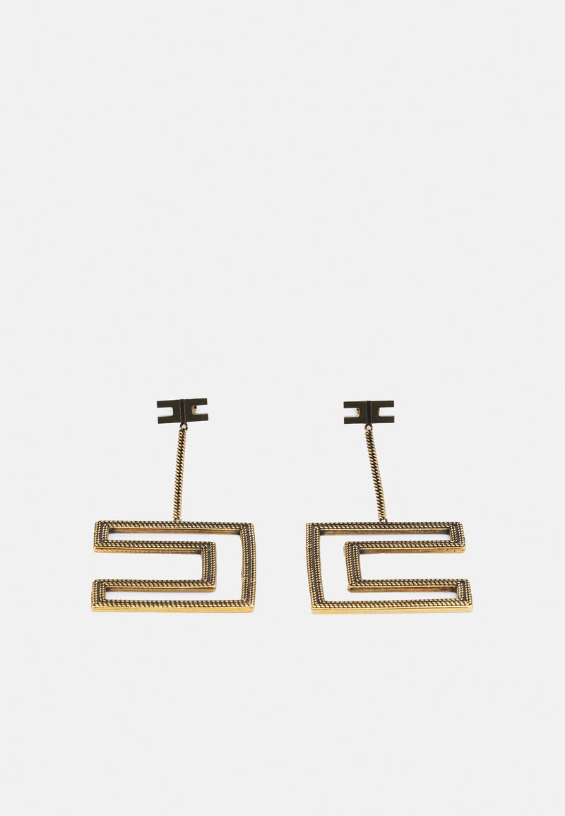 Elisabetta Franchi - DOUBLE C LOGO EARRINGS WITH CHAIN PENDANT - Earrings - oro vecchio