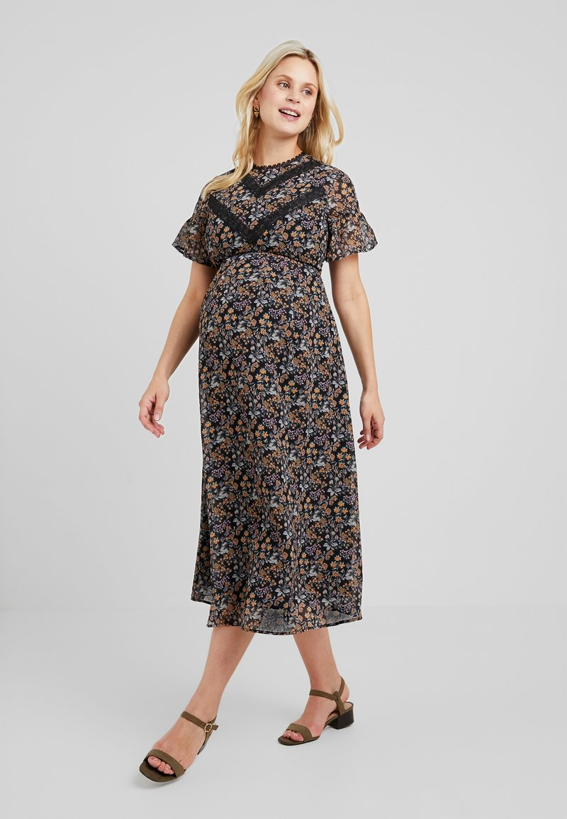 Hope & Ivy Maternity - FLUTER SLEEVE SKATER WITH V - Cocktail dress / Party dress - multi-coloured