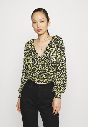 ONLPELLA WRAP SHORT - Long sleeved top - black/mimosa