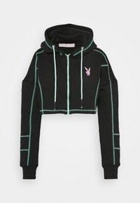 Missguided - PLAYBOY ZIP THROUGH CONTRAST STITCH CROP HOODY - Zip-up hoodie - black - 3