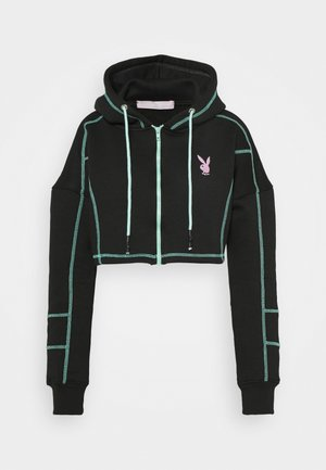 PLAYBOY ZIP THROUGH CONTRAST STITCH CROP HOODY - Sudadera con cremallera - black