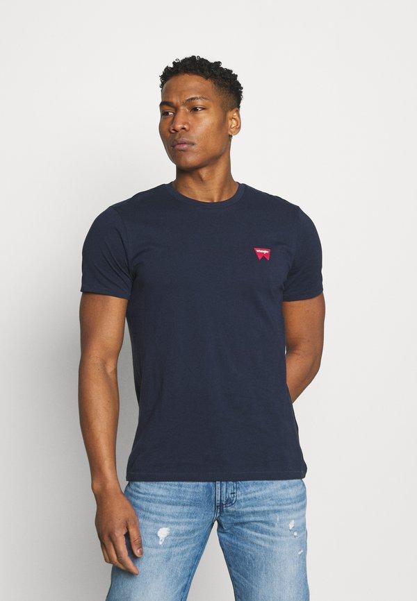Wrangler SIGN OFF TEE - T-shirt basic - navy/granatowy Odzież Męska OBSI